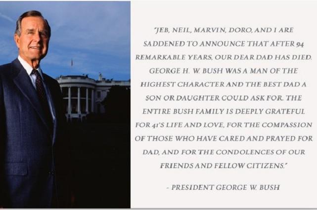 Fallece a los 94 años George Herbert Walker Bush, ex presidente de EU