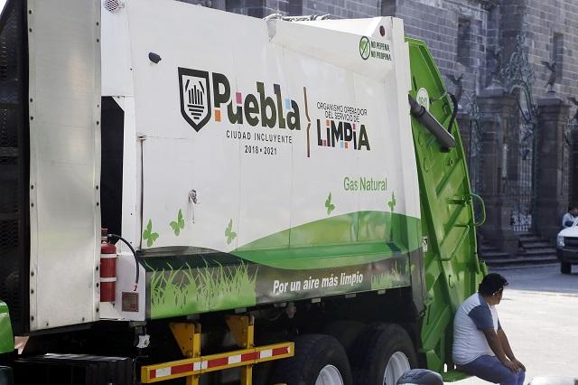 Camiones de limpia en Puebla son arreglados sólo de fachada