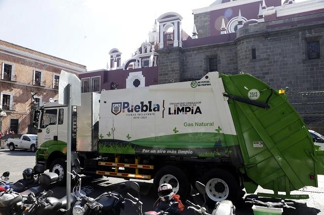 Suspenden 3 fechas el servicio de limpia en Puebla capital