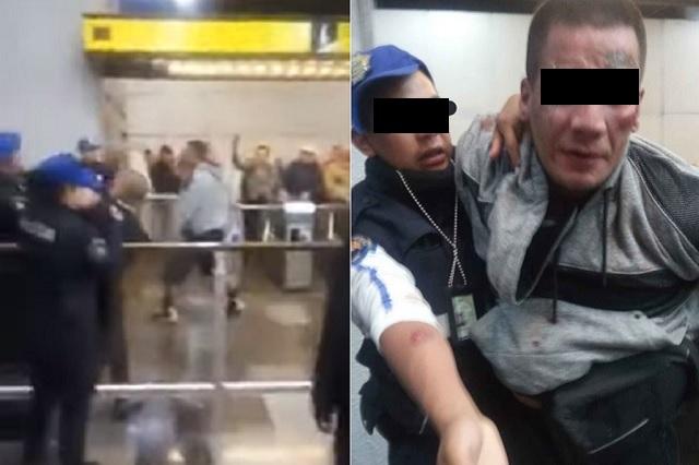 Hombres ebrios golpean y muerden a policías en metro de CDMX