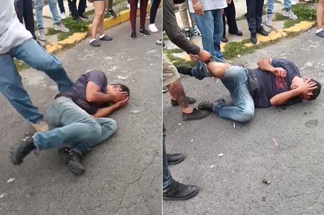 Golpean a ladrón que trató de asaltar a mujer embarazada