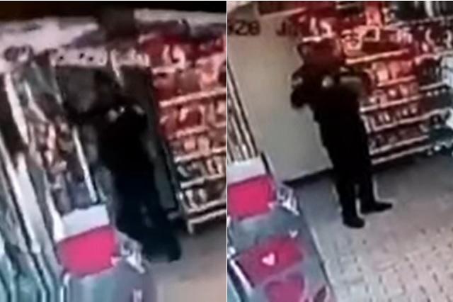 Captan robo de policía en tienda de conveniencia de CDMX