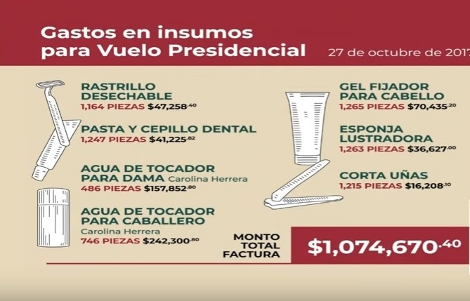 Exhibe AMLO gastos de un vuelo presidencial en sexenio de EPN