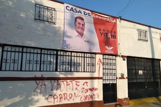 Grafitean casa de campaña de Movimiento Ciudadano