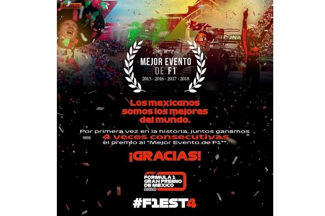Por cuarto año, Gran Premio de México es el mejor evento