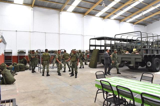 Instala Guardia Nacional base de operaciones en Huejotzingo