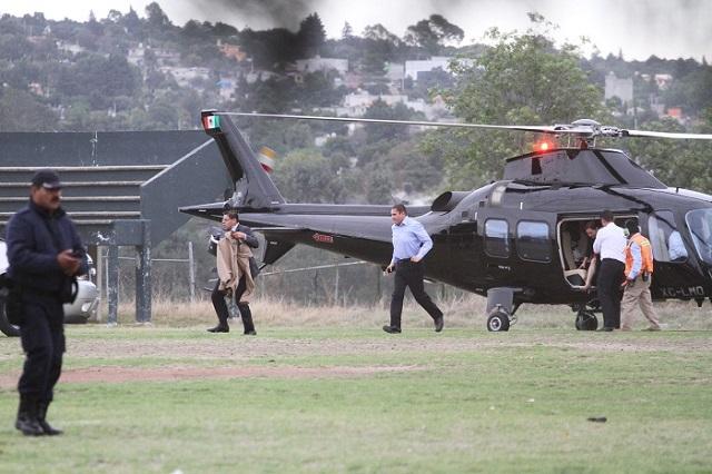 Helicópteros de Moreno Valle volaron más horas que el de Marín