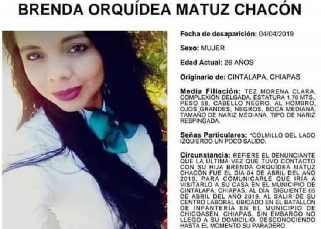 Capturan a dos por el asesinato de Brenda Orquídea, una mujer militar