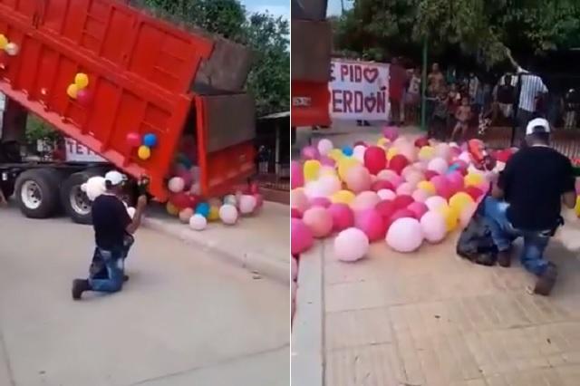 Se disculpa con su pareja cerrando la calle y con un tráiler de globos