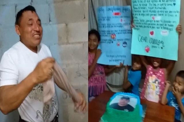 Hombre rompe en llanto tras recibir su primer pastel de cumpleaños