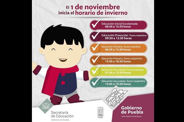 En noviembre, horario de invierno en 12 mil escuelas de Puebla