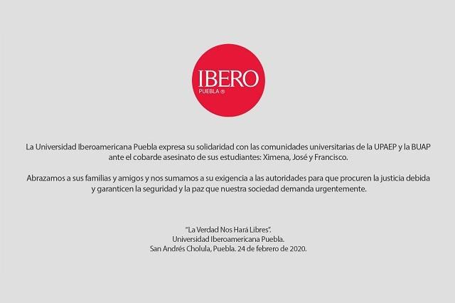 Cámaras y universidades condenan crimen de universitarios en Puebla
