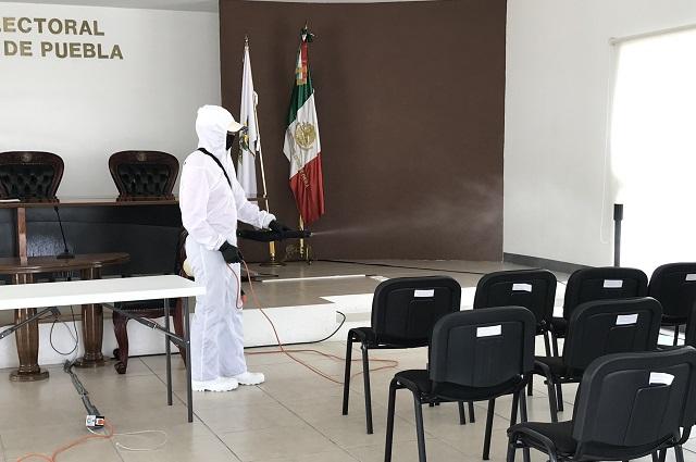 Sanitizan sede del Tribunal Electoral del estado de Puebla