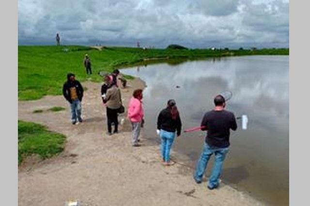 Acusan muerte de peces en jagüey de San Miguel Canoa