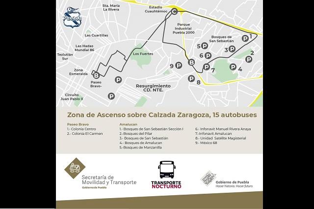 Habrá transporte nocturno en los partidos del Puebla