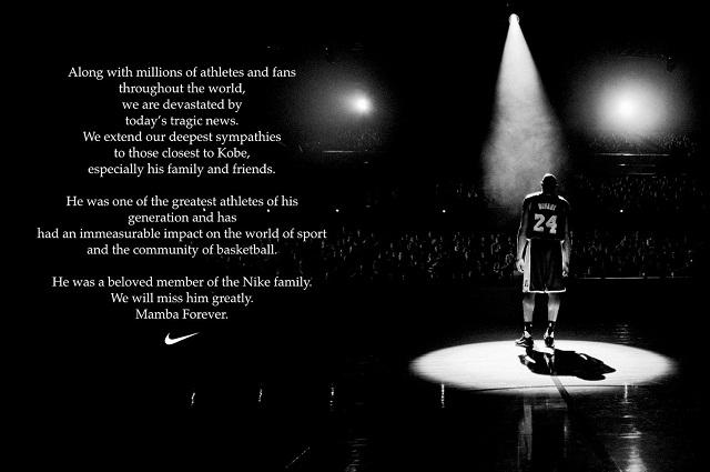 Nike retira productos de Kobe Bryant  para no lucrar tras su muerte
