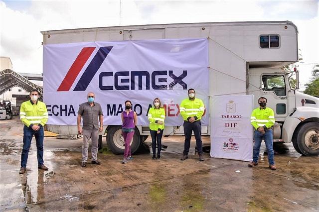 Cemex se suma a la causa por Tabasco; entrega más de 12 toneladas de víveres