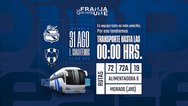 Transporte hasta las 12 de la noche por el Puebla-Monterrey