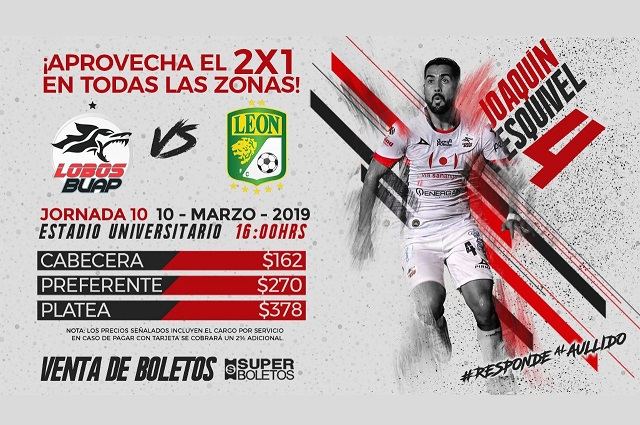 Lobos BUAP recibe a León con 2 x 1 en boletaje