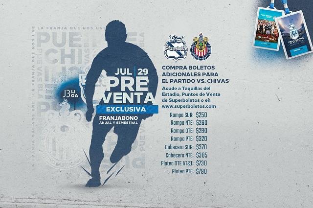Comienza la venta de boletos para el Puebla-Chivas