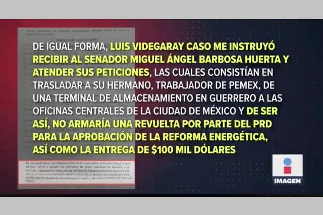 Lozoya sí vincula a Barbosa con sobornos, reporta Imagen TV