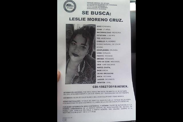 Desaparece Leslie en Puebla y la hallan muerta un día después