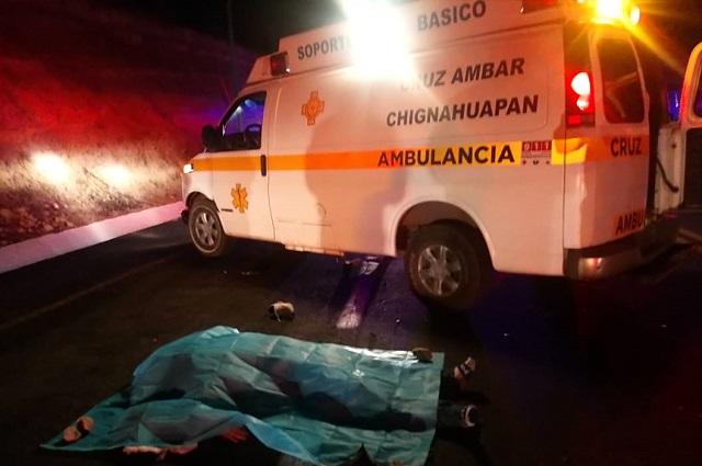 Muere motociclista al derrapar en la carretera Tlaxco-Tejocotal