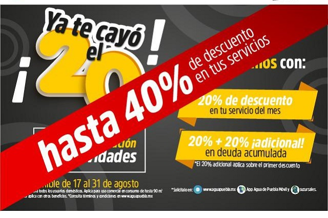 Vence plazo en Agua de Puebla para pago del mes con descuento