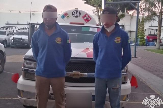 Caen huachigaseros con carga ilegal en Puebla capital