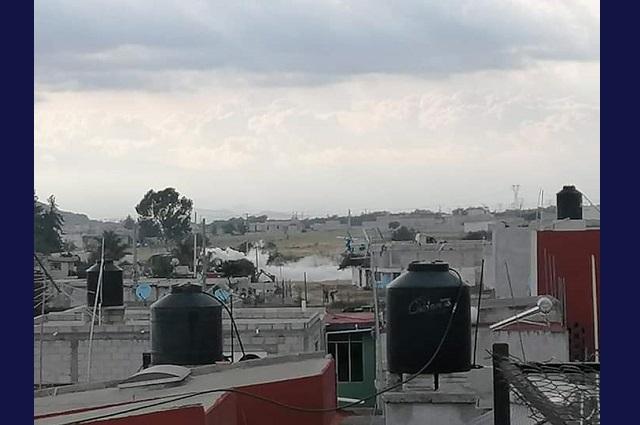 Por toma clandestina, fuga de gas en barrio de  Amozoc