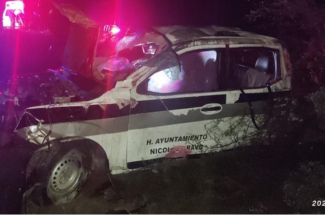 Deja 4 heridos volcadura de patrulla en Nicolás Bravo