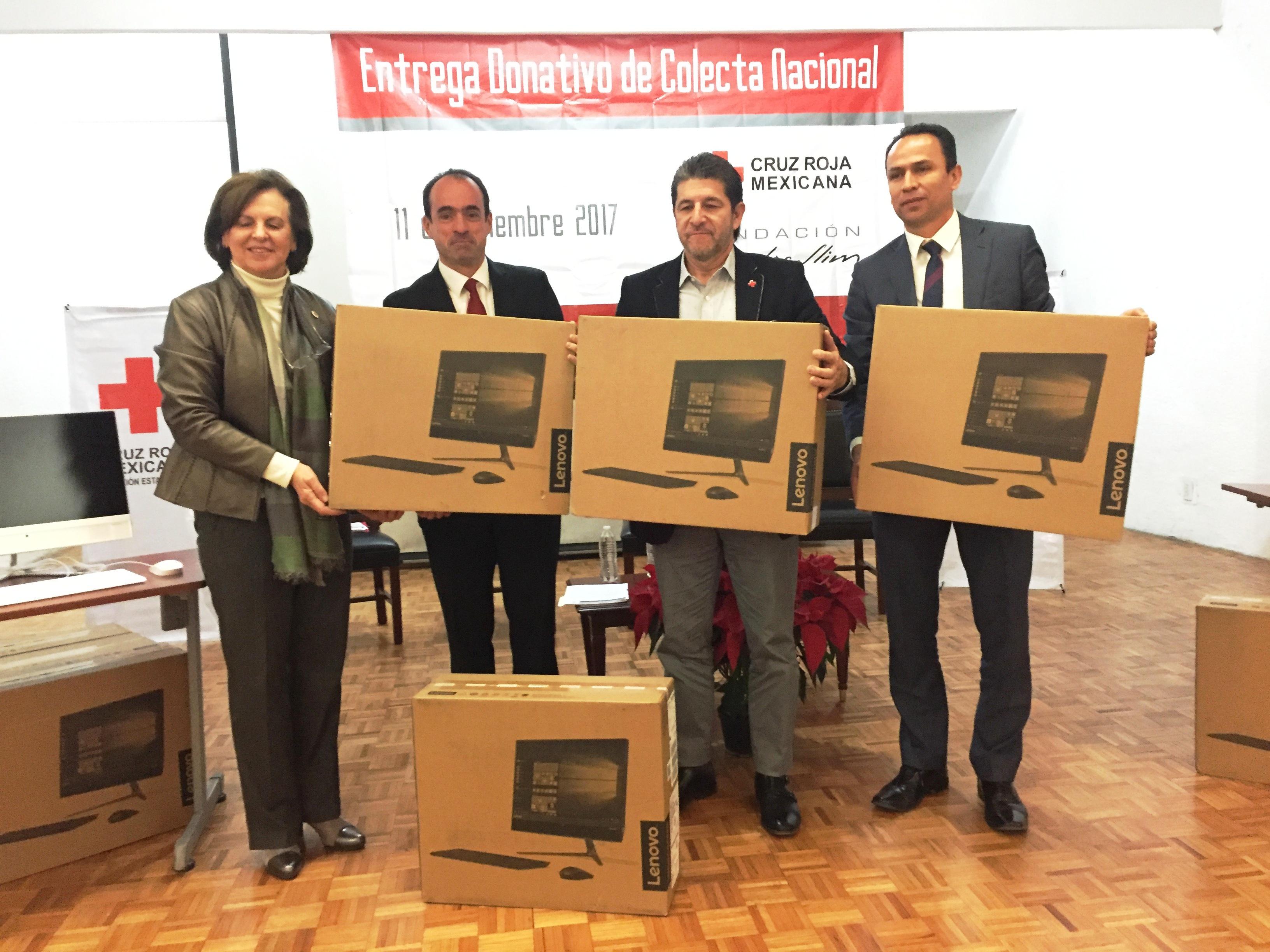 Fundación Carlos Slim entrega equipo de cómputo a Cruz Roja Puebla