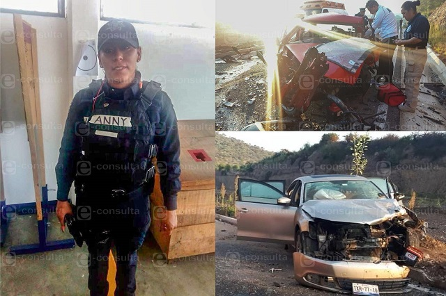 Perece mujer policía municipal de Puebla en aparatoso choque