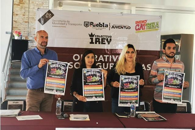 Habrá transporte nocturno para el Festival Catrina en Puebla