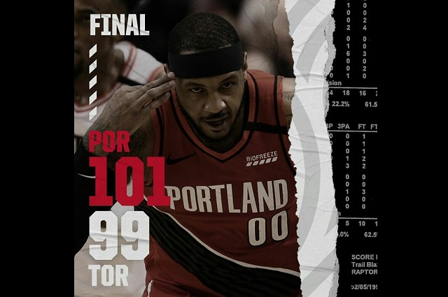 Con exhibición de tiro de Carmelo Anthony, Portland gana a Toronto