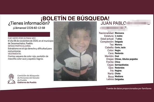 Hallan muerto a Juan Pablo, niño perdido en Tecamachalco