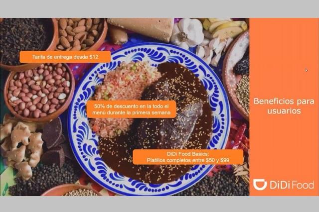 Arranca DiDi Food en alianza con restaurantes poblanos