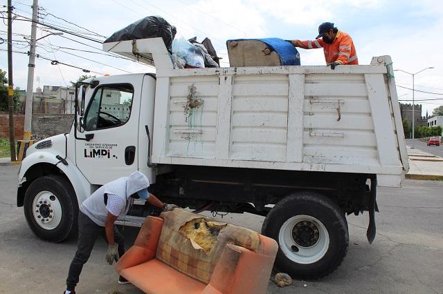 Retiran más de 100 toneladas de desechos en Puebla capital
