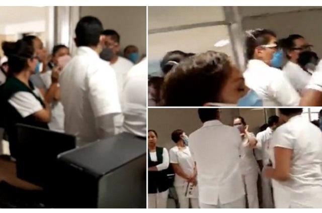 Paran labores y riñen por falta de insumos en IMSS San José