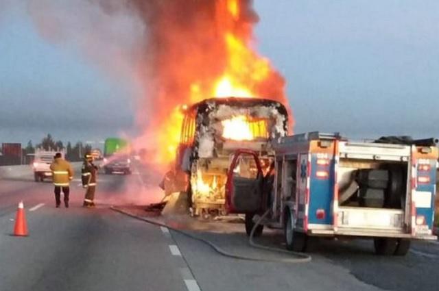 Se calcina autobús de turismo sobre la Puebla-Orizaba