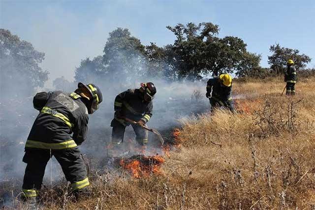 Con dos aeronaves combaten incendio forestal en El Pinal