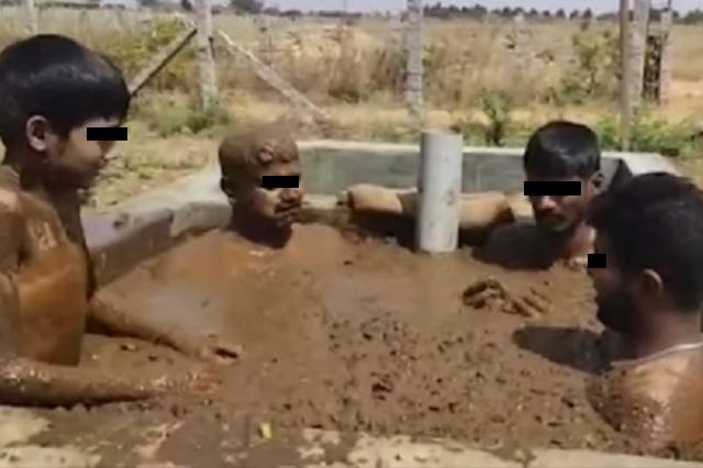 Pobladores de la India toman baños con estiércol de vaca para evitar coronavirus