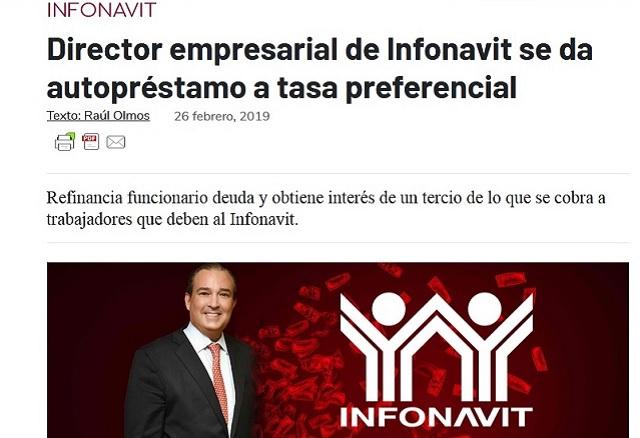 Funcionario de Infonavit se dio un préstamo con tasa preferencial: MCCI
