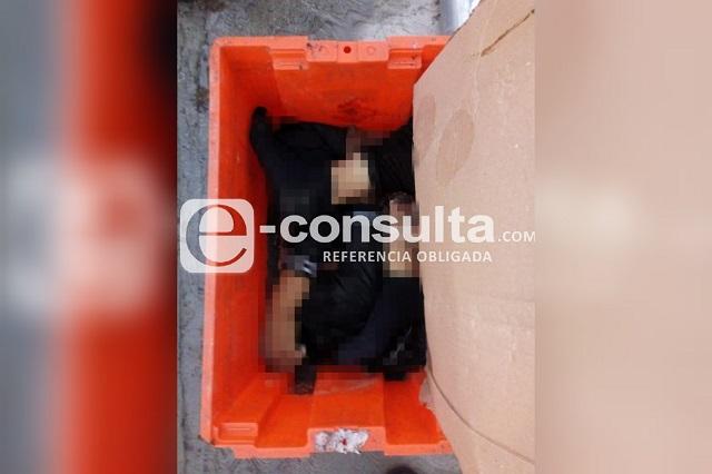 Dejan caja con brazos y piernas humanos en Cañada Morelos
