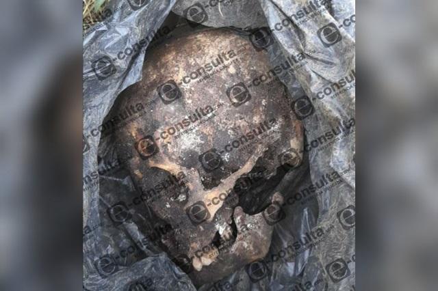 Encuentran cráneo humano embolsado en Huauchinango