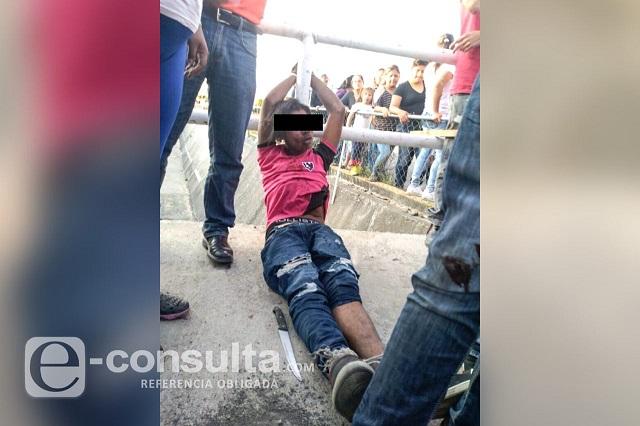 Intentan linchar a presunto centroamericano en Huejotzingo
