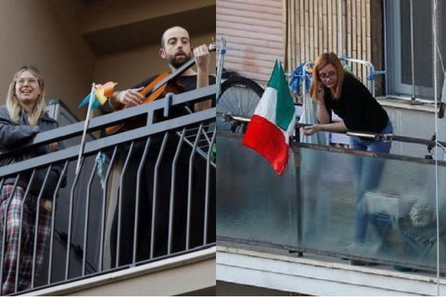 Por cuarentena, italianos dan conciertos desde sus balcones