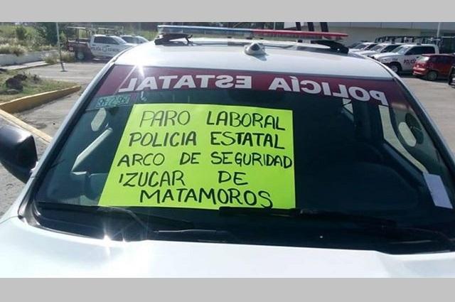 Policías Estatales de Izúcar de Matamoros se unen al paro laboral
