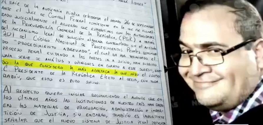 Javier Duarte dice que es inexacto que haya ofrecido delatar a EPN