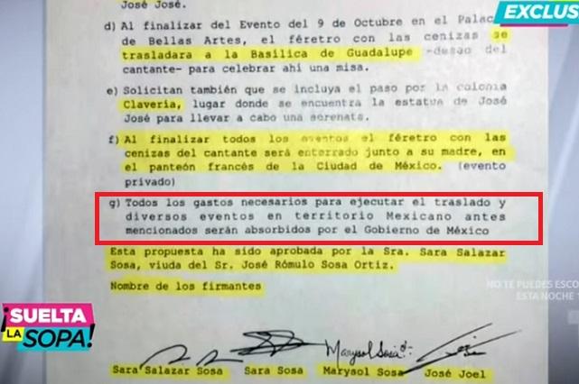 Gobierno de México pagará el traslado de los restos de José José